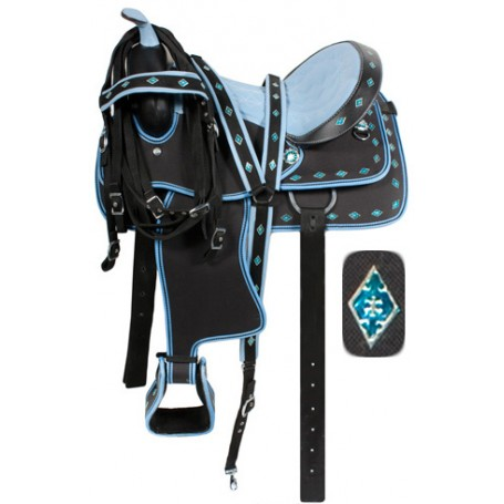 Blue Ostrich Synthetic Western Saddle Tack Set 14