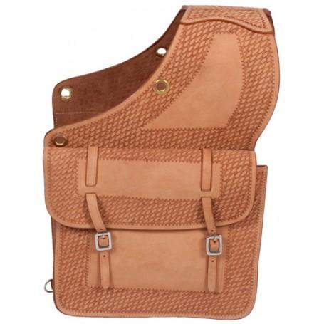 Leather Western Tooled Saddle Bag