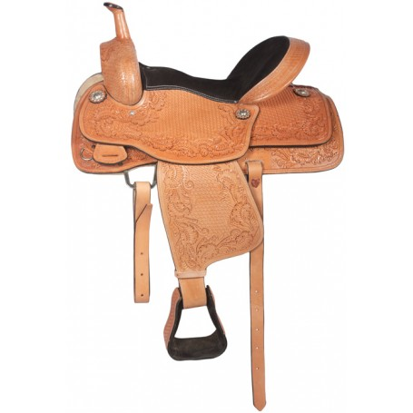 Beautiful Carved Pro Cutter Western Saddle 16