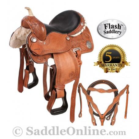 Western Ostrich Seat Barrel Racing Horse Saddle 16
