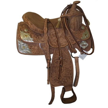 Premium Tooled Show Saddle W Tack & Silver.