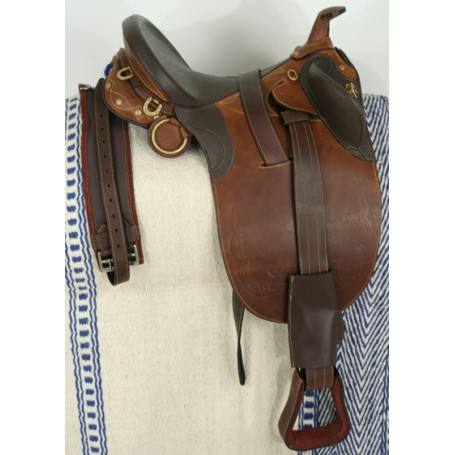 New 18 LEATHER BROW HORSE SADDLE WITH STIRRUPS