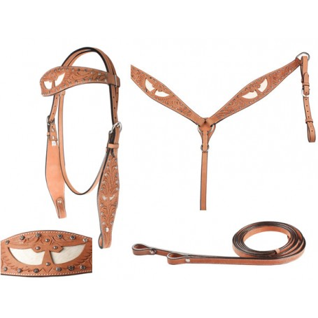 Hand Carved Studded Cross Headstall Breast Collar Tack  Set