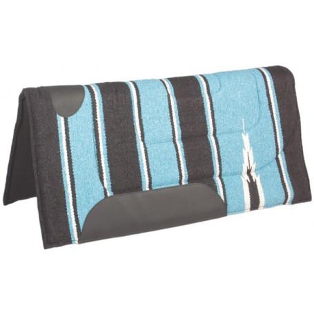 Baby Blue Black Felt Lined Western Saddle Pad