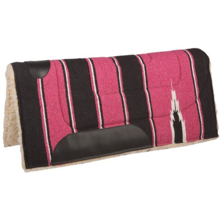 Fuchsia Black Fleece Lined Western Saddle Pad