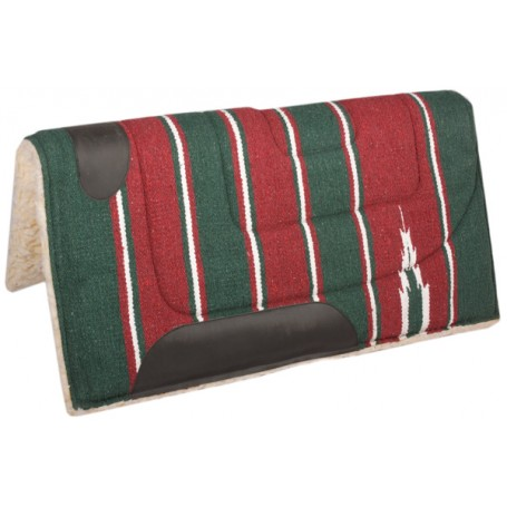 Green Red  Fleece Lined Western Saddle Pad