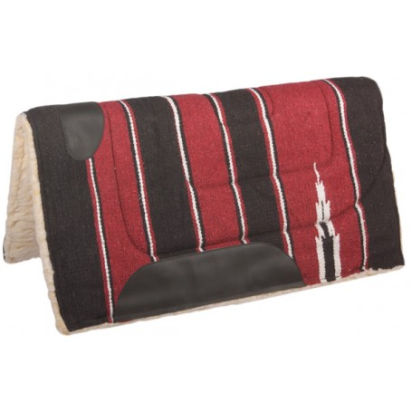Maroon Black Fleece Lined Western Saddle Pad