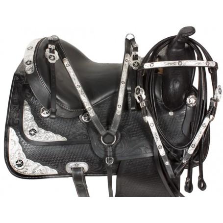 17 Black Western Texas Star Show Horse Saddle