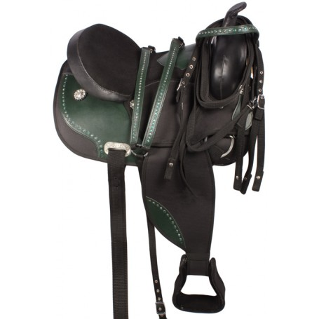 Black Green Western Synthetic Horse Saddle 16