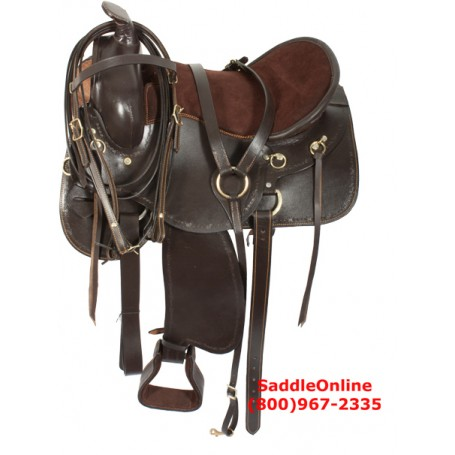 Brown Western Leather Gaited Horse Saddle 16