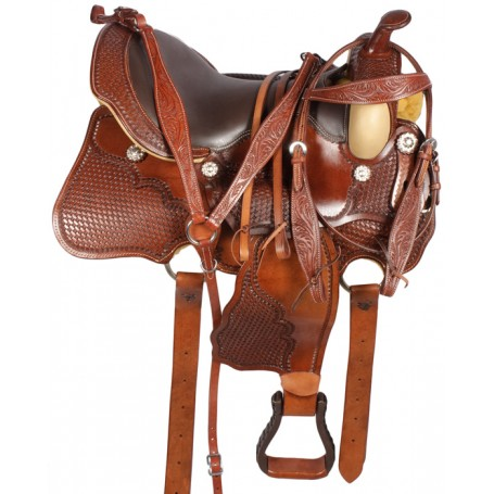Western Pleasure Leather Horse Saddle Tack 16