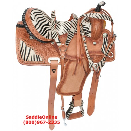 14 16 Zebra Western Horse Barrel Racing Saddle