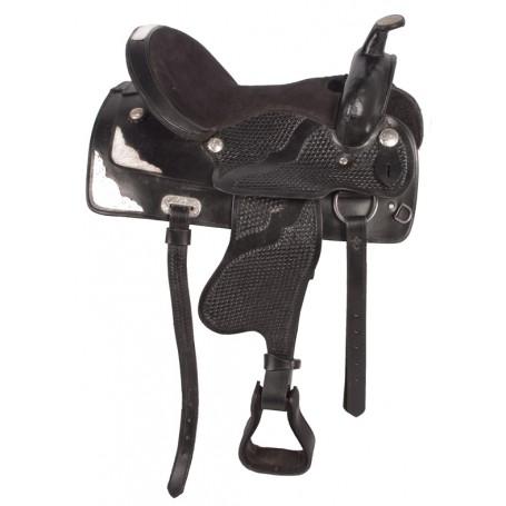 Black Western Pleasure Trail Show Horse Saddle 16