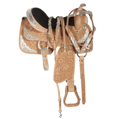 Custom Hand Carved Western Leather Show Saddle Tack 15-17