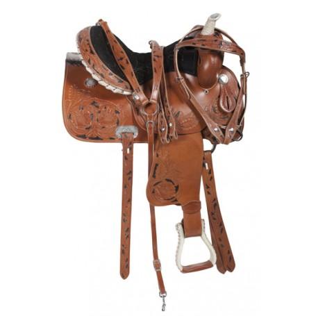 Beautiful 15 Barrel Racing Horse Leather Saddle
