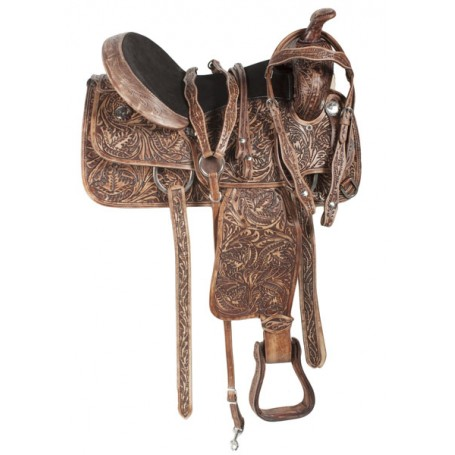 Antique Hand Carved Western Trail Leather Saddle Tack 16 17