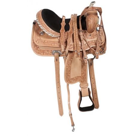 Hand Carved Rawhide Horn Barrel Racing Leather Saddle 15
