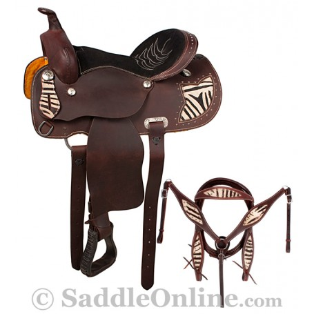Brown Zebra Western Pleasure Leather Horse Saddle 16