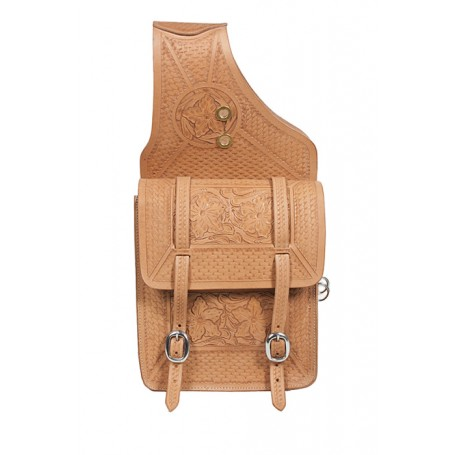 Large Leather Hand Carved Natural Horse Saddle Bags