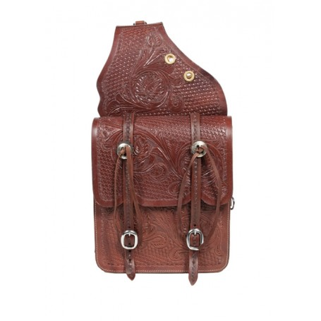 Large Leather Hand Carved Brown Horse Saddle Bags