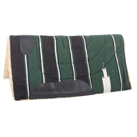 Green Black Fleece Lined Western Saddle Pad