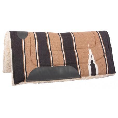 Black Tan Fleece Lined Western Horse Saddle Pad