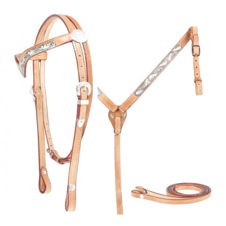 Light Oil Show Headstall set with Silver Accents