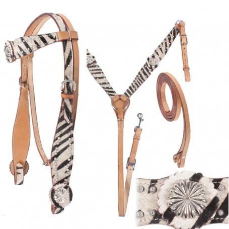 Hair Hide Zebra Print Headstall Breastcollar Silver Accents
