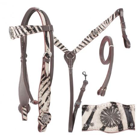 Dark Oil Hair on Hide Zebra Print Headstall Breast collar Silver