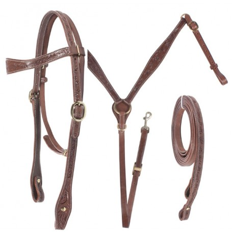 Chocolate Brown Brass Hand Carved Headstall Breast Collar Set