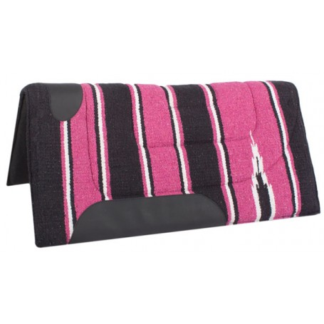 Fuchsia and Black Felt Lined Saddle Pad