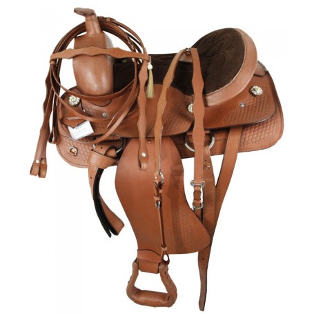 16 17 Brown Heavy Western Trail Saddle W tack