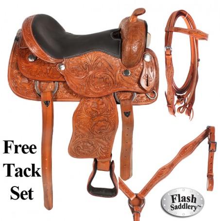Hand Carved Western Pleasure Trail Saddle Tack Set 17