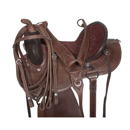 Gaited Tooled Brown Trail Endurance Saddle & Tack 17 18