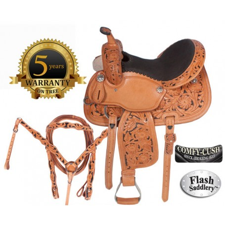 Hand Carved Premium Leather Barrel Racing Saddle with Hand Paint