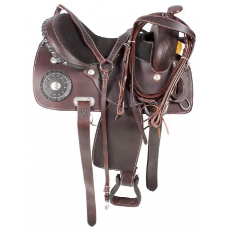 Dark Oil Premium Leather Trail Horse Pleasure Saddle 16 17