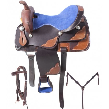 Dark Oil Leather Blue Seat Trail Pleasure Saddle 15 16