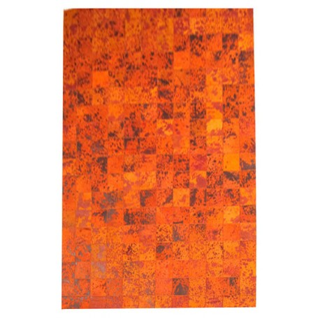 Contemporary 4X6 Cow Skin Leather Orange Cowhide Rug Carpet