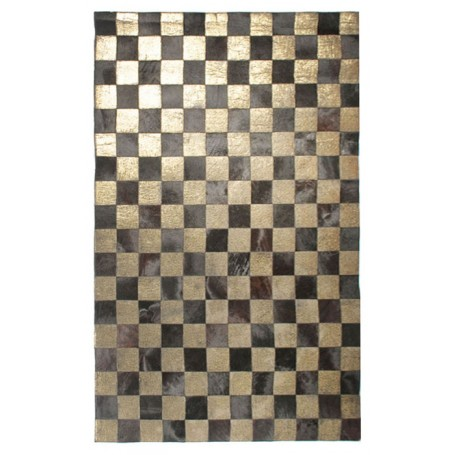 Contemporary 5x8 Cow Skin Leather Brown With Gold Cowhide Rug Ca