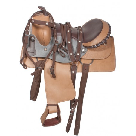 Brown/ Gray Synthetic Duraleather Pleasure Trail Saddle 16