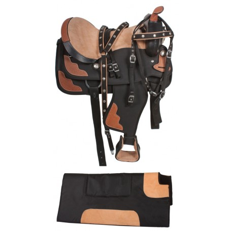 Black Brown Western Trail Synthetic Horse Saddle 16