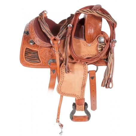 13 Brown Western Tiger Leather Pony Saddle Tack