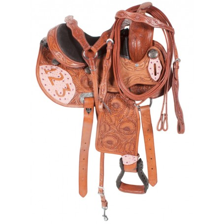 12 Cowgirl Pink Leather Pony Saddle Crystals Leather