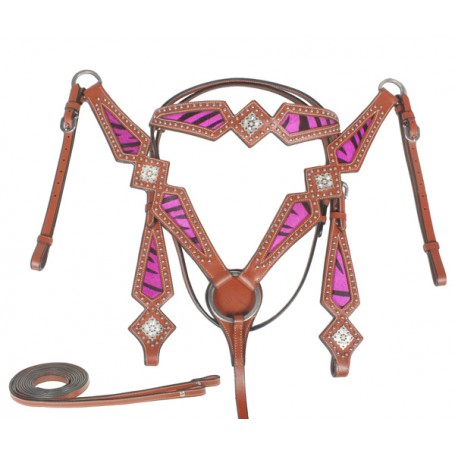 Leather Hot Pink Hair On Hide Zebra Headstall Breast Collar Tack