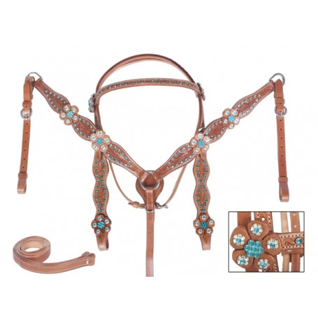 For Sale Show Teal Bling Silver Headstall Breast Collar Tack