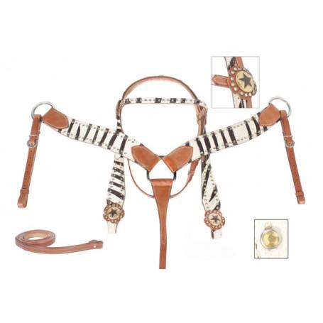 Show Zebra Bling Gold Texas Star Headstall Breast Collar Tack