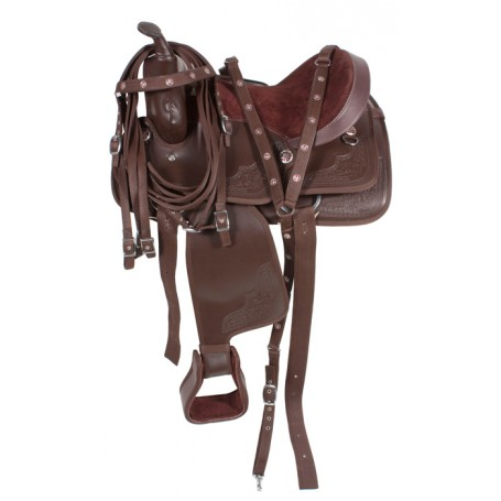 Brown Western DuraLeather Synthetic Horse Saddle 15