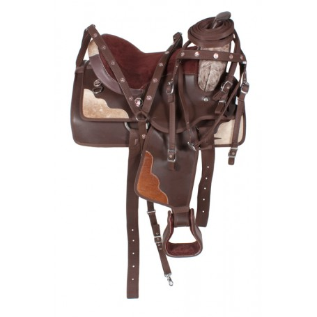 Western Synthetic DuraLeather/Hair on Hide Horse Saddle 14