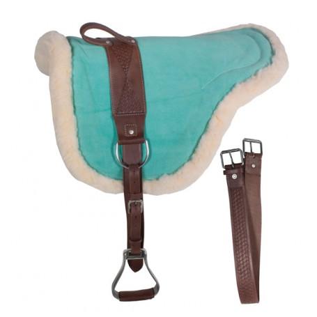 Green Blue Leather Bareback Pad With Stirrups Girth