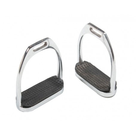 Classic English Riding Stirrup Irons with Black Rubber Pads